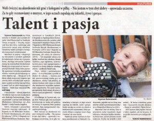 Wywiad z Szymonem Świerzewskim, który ukazał się w Tygodniku Siedleckim nr 8 z dnia 1 marca 2015r.